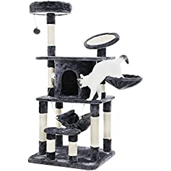 """SONGMICS 55"""" Multi-Level Cat Tree Condo Tower with Scratching Post and Pad Kitty Play House Furniture Grey UPCT25G"""