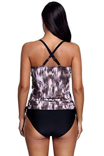 New nero DOT Lace Racerback 2PCS Tankini set bikini bikini Swimwear estivo, taglia UK 14EU 42