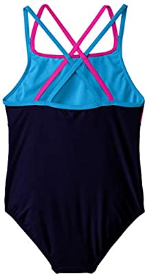 Speedo Girls Cross Back Splice 1 Piece Swimsuit