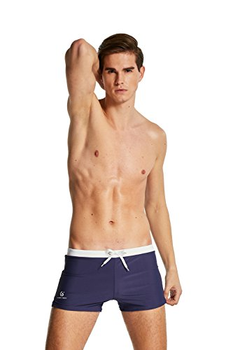 """CAESER ARCHY Professional Men's Swimming Trunks Boxer Brief Swimsuit,Navy Blue,US L/Asia XXL(Waist:32""""-35"""")"""