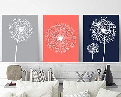 Amazon.com: Dandelion Wall Art Coral Navy Gray Bedroom Wall ...