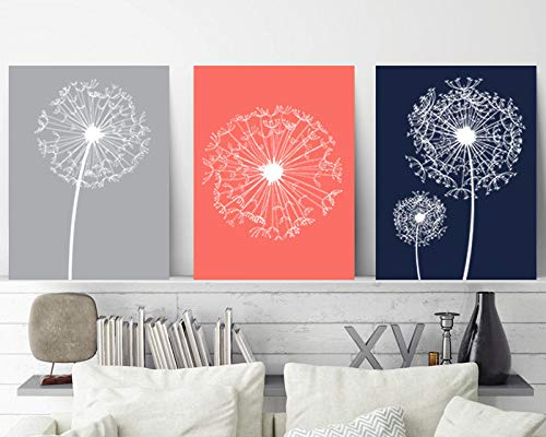 Dandelion Wall Art Coral Navy Gray Bedroom Wall Decor Canvas or Prints Coral Navy Bathroom Decor Flower Wall Art Dandelion Art Set of 3 8x10 inch
