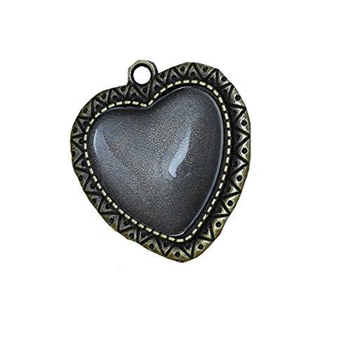 Antique Transparent (Charm Pendants Heart Antique Bronze W/Transparent Glass Cabochons Setting (Fits 25mm x23mm(1