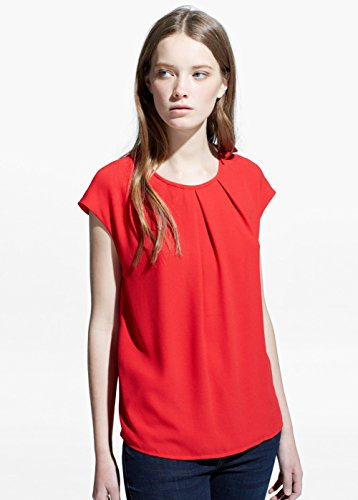 Mango Women's Pleated Detail Blouse, Intense Red, 10