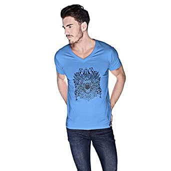 Creo Open Skull Bikers T-Shirt For Men - S, Blue