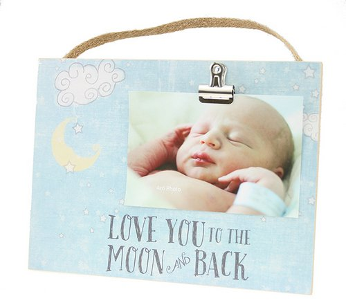 """Kindred Hearts 10"""" x 7.5"""" Love You To The Moon Clip It Baby Photo Plaque for 4x6 Photo with Burlap Hanger (Blue)"""