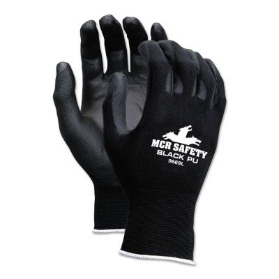 Memphis Glove 9669L Nylon Knitted Shell Memphis Gloves with Black PU Dipped Palm and Fingers, Black, Large, 1-Pair by MCR Safety by Memphis Glove