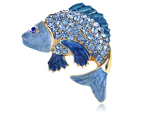 Alilang Japanese Koi Fish Carp Golden Tone Enamel Crystal Rhinestone Ocean Animal Lapel Pin Brooch