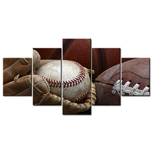 Baseball Glove Wall Art - VIIVEI 5 Piece Canvas Wall Art Baseball in Baseball Glove,Football and Basketball Vintage Home Decor Decals Prints Artwork Posters Retro Paintings Stretched and Framed Ready to Hang (60