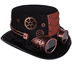 Arsimus Large Steampunk Hat with Goggles & Gears Burning Man Victorian Top Hat