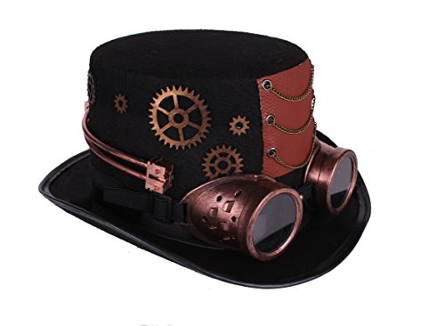 [Arsimus Large Steampunk Hat with Goggles & Gears Burning Man Victorian Top Hat] (Steampunk Costumes Men)