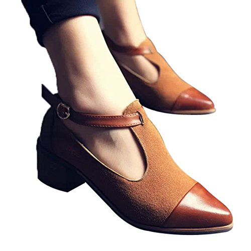 Susanny+Women%27s+Vintage+Cute+T-strap+Low+Heel+Pointed+Toe+Brown+Oxfords+Pump+Shoes+with+Buckle+5.5+B+%28M%29+US