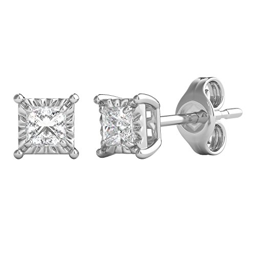 Helzberg Diamonds Sterling Silver 1/4 cttw Square Princess-Cut Diamond (I-J Color, I3 Clarity) Illusion Stud Earrings