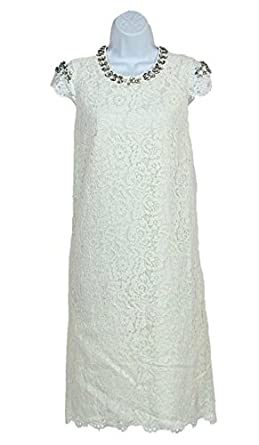d18f7d4c3ab Image Unavailable. Image not available for. Color  J Crew Collection  Leavers Lace Jeweled White Dress ...