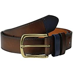 Tommy Hilfiger Men's Casual Belt with Contrast Keeper and Tip