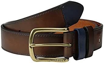 Tommy Hilfiger Men's Casual Belt with Contrast Keeper and Tip - Brown -