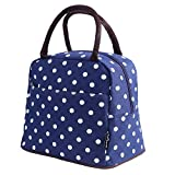 Bagbang Insulated Lunch Bags for Women Girls Cooler Tote Bags Reusable Cute Lunch Box for Adult Waterproof Snack Bags Hand Bag (Dot Blue)
