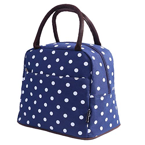 Bagbang Insulated Adult Lunch Bags for Women Girls Reusable Soft Cooler Tote Bags Lunch Box for Picnic School Office Outdoor Shopping with Large Capacity Blue Dot ()