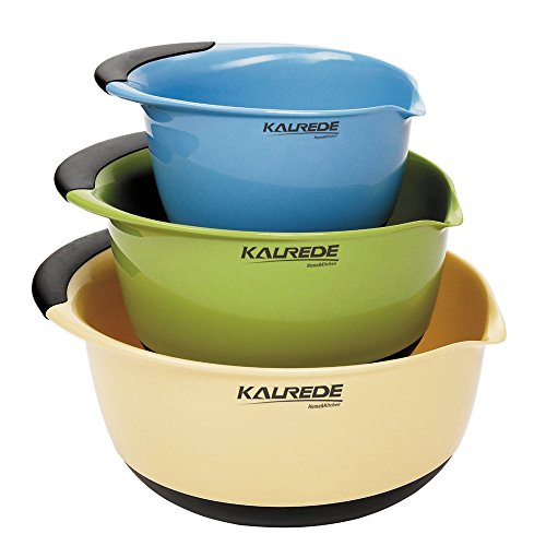 (KALREDE Plastic Mixing Bowls - Mixing Bowl Set Of 3 -Big Nesting Mixing Bowls with Pour Spout & Rubber Easy Grip Handle & Non Slip Bottom for Kitchen -Baking Accessories-)