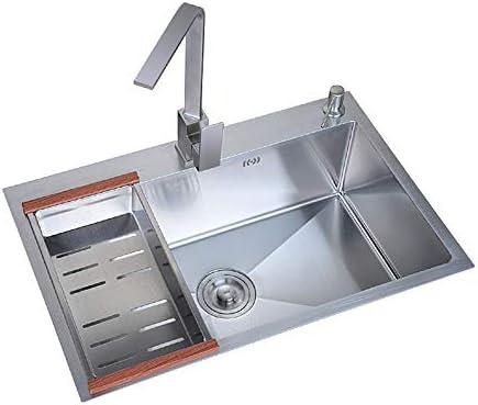 ステンレス鋼のシンクタッチキッチンシンクの蛇口60センチ* 45センチ、68センチ* 45センチ洗面台カウンター盆地シングルシンクキッチンシンクシルバー