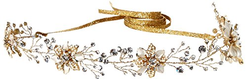 Twigs & Honey Women's Beaded and Enamel Flower Crystal Vine Bridal Hairpeice, Gold, One Size by Twigs & Honey