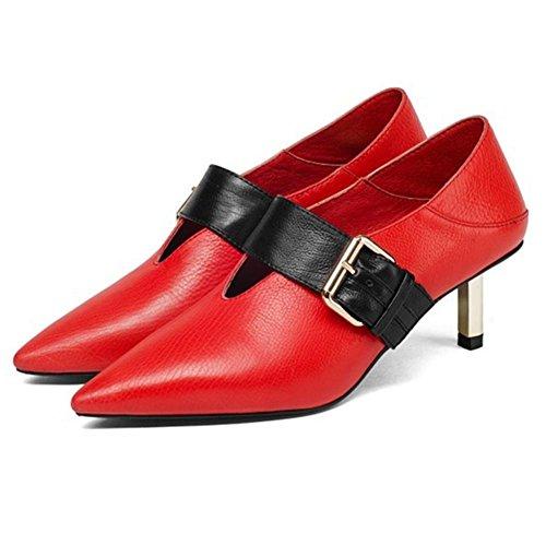 Noir Pied Chaussures de Milieu Femmes sur NVXIE Doux Cuir Mince EUR37UK455 Boîte Doigt Tribunal Rouge Glisser Pompes Pointu Fête de Talon Nuit Robe RED R6ZnnqIp