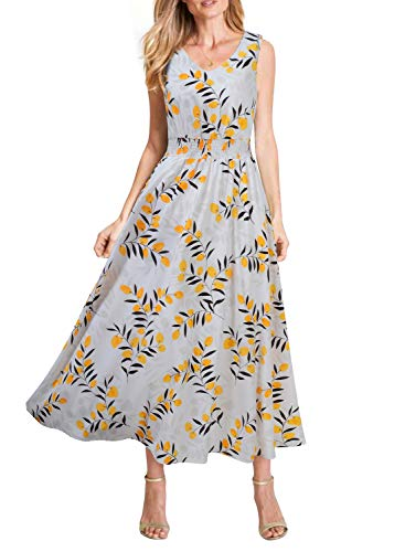 REPHYLLIS Women's Summer Chiffon V Neck Vintage Print Floral Maxi Beach Long Dress White Yellow XXL