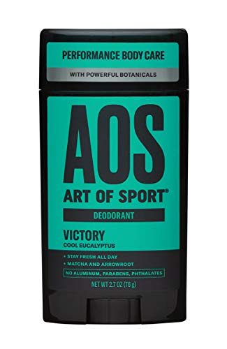 Art of Sport Men's Deodorant - Victory Scent - Aluminum Free Deodorant for Men with Natural Botanicals Matcha and Arrowroot - High Performance Formula for Athletes - Goes on Clear - 2.7oz