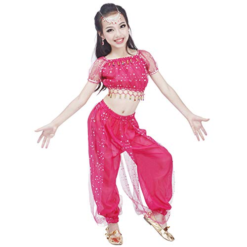 Maylong Girls Polka Dot Harem Pants Belly Dance Outfit Halloween Costume DW50 (Medium, hot Pink)