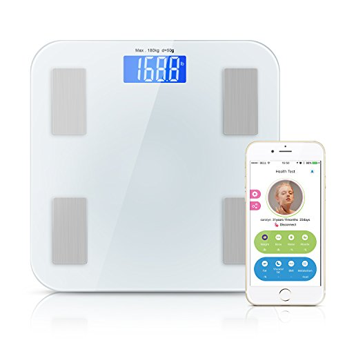 Adoric Bluetooth Body Fat Scale Smart Wireless Digital Bathroom Scale with IOS & Android App for Weight, Bone, Water, Muscle, Fat, Visceral fat, BMI, and Metabolism, White