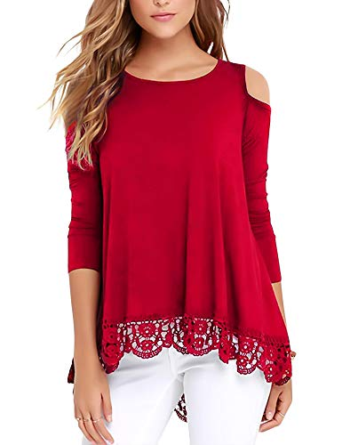 (RAGEMALL Womens Cold Shoulder Tops Long Sleeve Lace Trim Tunic Blouse Tops for Women Red M)