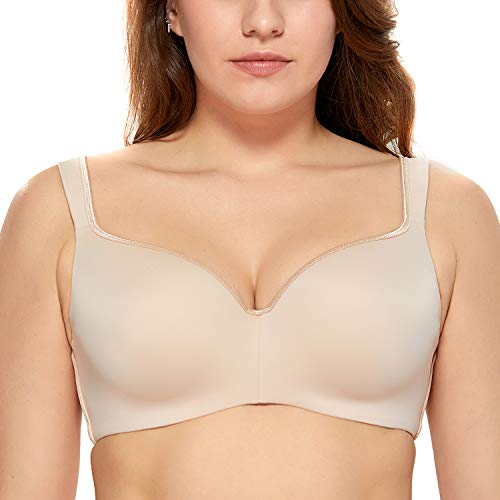 - DELIMIRA Women's Full Figure Side Support Contour Smooth T-Shirt Underwire Bra Beige 38C