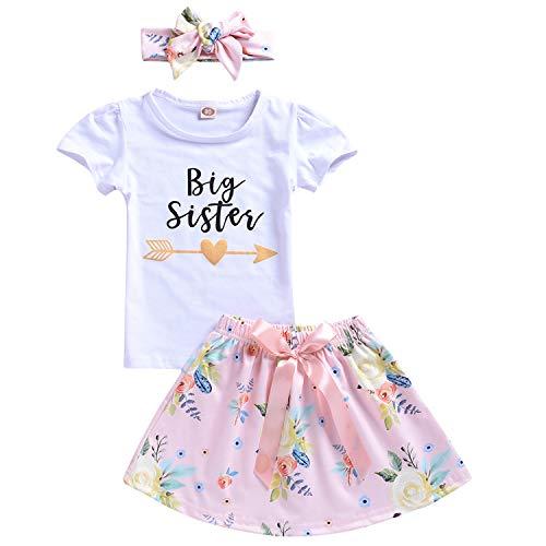 (Baby Girl Little Sister Romper Floral Pants Big Sister T-Shirt Letter Bodysuit Sweatshirt 3Pcs Outfit Set (4T-5T, Short Sleeve Big Sister))