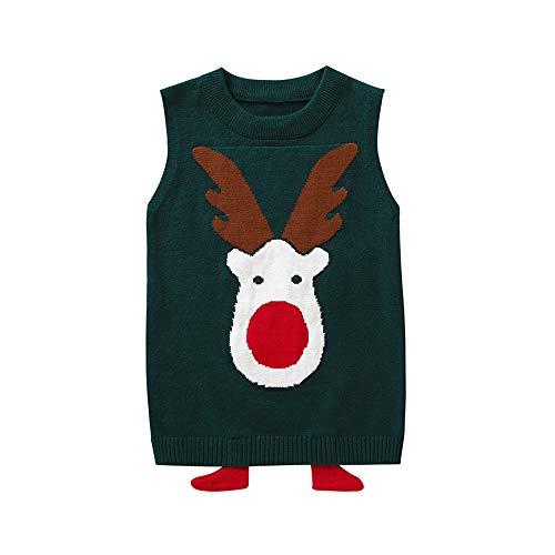 Baby Girl Sweater,Toddler Kids Baby Girl Boy Cartoon Christmas Elk Print Pullover Vest Tops Fall Winter Xmas Cute Blouse -
