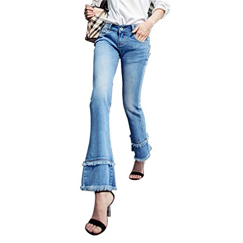 (Jeans Clothing Women's Bell-Bottoms Cropped Pants Fringed Edging Drape Nine Points Micro-la Pants Slim Slim Pants Cotton Four Seasons Can Wear Women (Color : Blue, Size : 28))