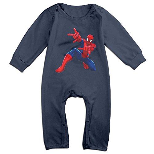 [The Popular Surper Hero Spider-Man Logo Baby Onesie Romper Jumpsuit Bodysuits] (Blue Spiderman Suit)