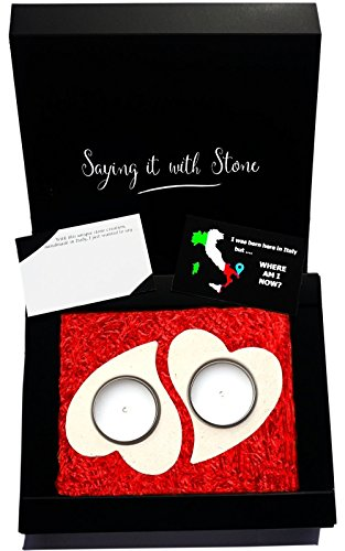 2 Hearts Become 1 Tealight Candle Holders  Elegant gift box, blank message card & candles all includedHandmade in Italy  Rare stone contains fossil fragments  Valentine's day present idea