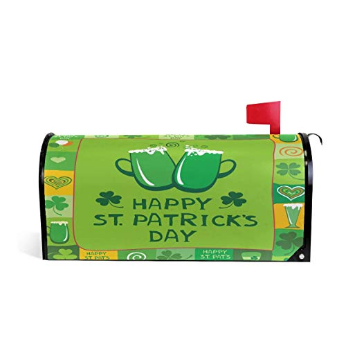 (Bruyu5se Greetings Personalized Home Garden Decorative Mailbox Post Wrap Standard Sized Outdoor Courtyard Garden Fence Beer Mugs Saint Patrick's Day 21 x 18 Inches Waterproof Canvas Mailbox)