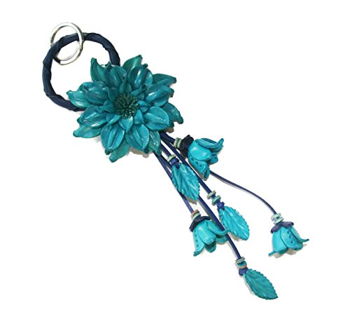 Bella Pazzo Blue Handmade Dahlia Flower Leather Keychain Key Ring Clasp Bag Charm Handbag Purse charm Car Key Pendant