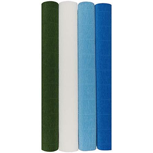 (CrepePaperCrafts Premium Set - 4 pcs of Italian Crepe Paper Rolls, 180 Gram (Blue Iris Set))