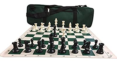 "Chess Set Package: Triple-Weighted Heavy Chess Pieces, 2 Extra Queens, Green Roll-Up Vinyl Chess Board, Green 24"" x 9"" Carrying Case and Instructions on How to Play Chess"