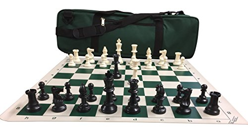 Chess Set Package  Triple Weighted Heavy Chess Pieces  2 Extra Queens  Green Roll Up Vinyl Chess Board  Green 24  X 9  Carrying Case And Instructions On How To Play Chess