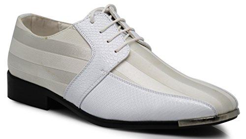 - JY2N Men's Satin Metal Silver Tip Oxfords Dress Shoes Stripes Church Wedding Party Groomsmen Oxfords Dress Shoes (9 D(M) US, White_4)