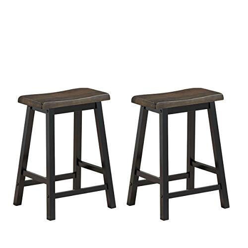 COSTWAY Saddle Seat Stools, Wood Vintage Counter Height Chairs, Modern Backless Design Indoor Furniture for Kitchen, Dining, Pub and Bistro, Set of 2 (24