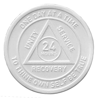 Set of 25 - (APA) - Style A - 24hr AA White Plastic Anniversary Chips by Recovery Emporium: Toys & Games