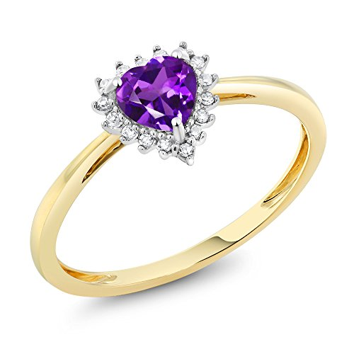 - 10K Two-Tone Gold 5mm Purple Amethyst and Diamond Heart Shape Ring (Size 7)