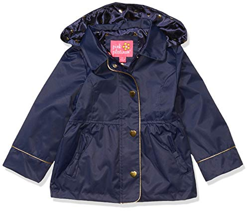 Pink Platinum Toddler Girls Hooded Trench Coat, Navy, 4T