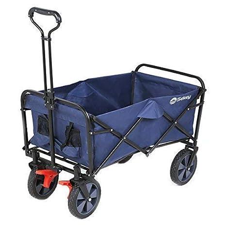 Sekey Carretillas de Carro Plegable con Frenos, para jardín, Carrito transportador Apto para Todo Tipo de Fondos, Color Azul Oscuro: Amazon.es: Jardín