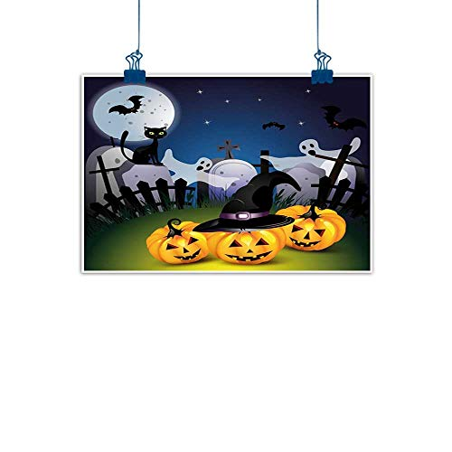 Sunset glow Wall Art Print Home Decor Halloween,Funny Cartoon Design with Pumpkins Witches Hat Ghosts Graveyard Full Moon Cat,Multicolor on Canvas Wall Decoration Wrapped 28