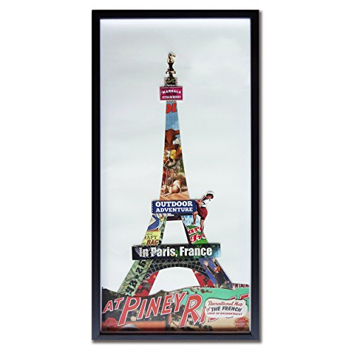 cubism Modern Wall Art Eiffel Tower Paper 3d Art Collage with Black PS Frame Glass Cover Size 13x26 Inch Original Design Handmade Fine Art for Home Decoration Great Gift